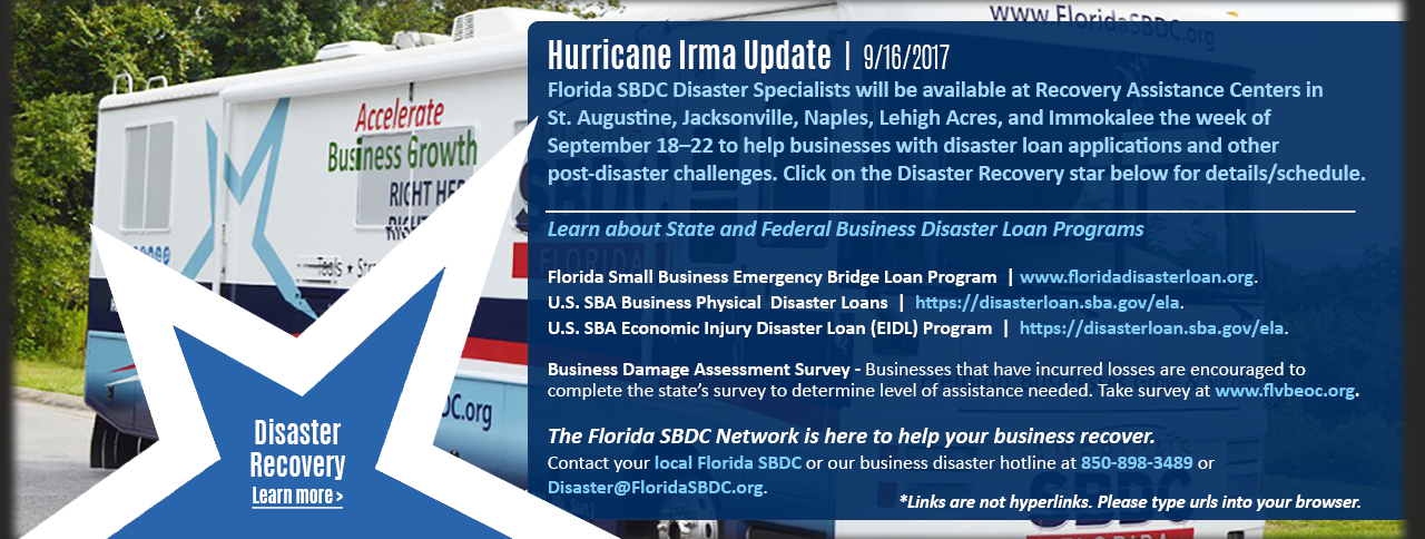 The Florida SBDC is here to help businesses recover from Hurricane Irma