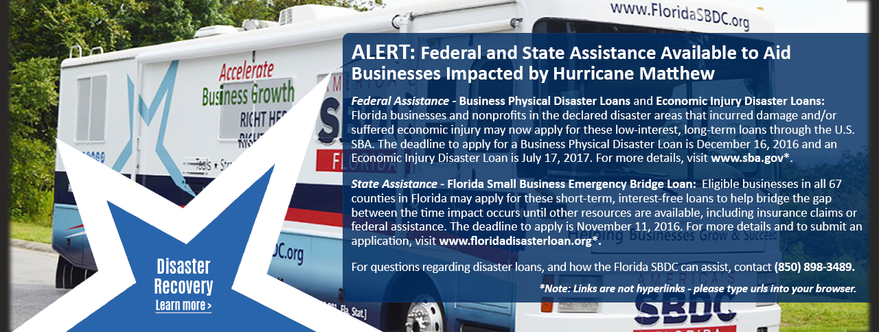 Photo of the Florida SBDC Mobile Assistance Center and an explanation about the federal and state assistance available to aid businesses impacted by Hurricane Matthew