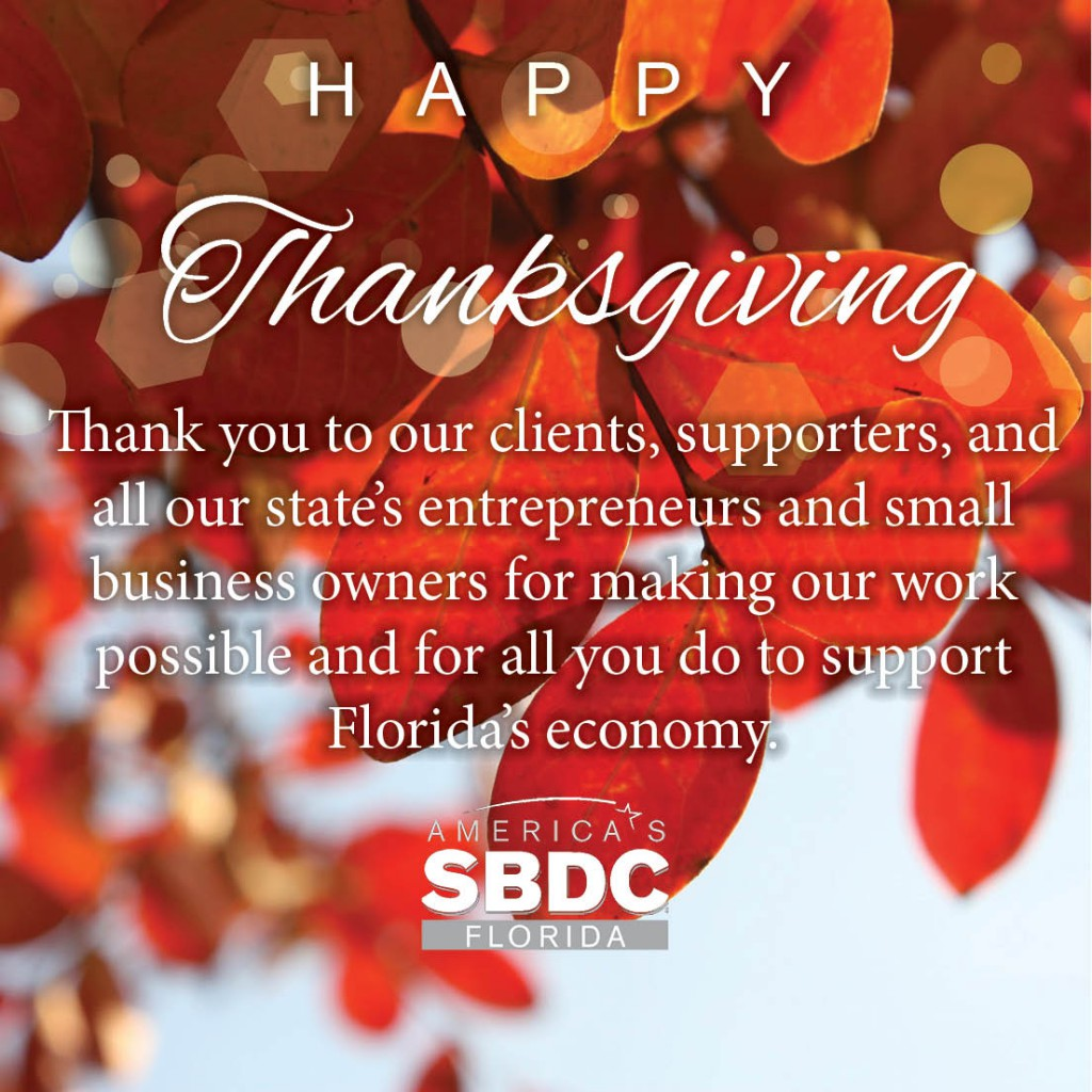 Happy Thanksgiving from the Florida SBDC Network