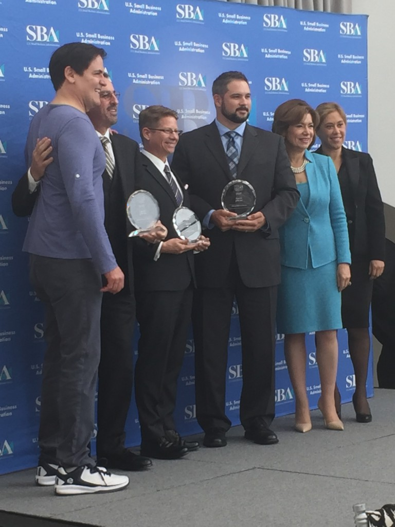 L-R: Mark Cuban, David Peter Bello, Sr.; John A. Harnett, III; David Bello Jr.; Administrator Maria Contreras-Sweet and Eileen Sanchez