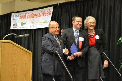 L-R: Wilfredo J. Gonzalez, Director, U.S. SBA North Florida District; Carlton Smith, Vice President of HERO FL and the 2014 U.S. SBA Exporter of the Year; and Janice Donaldson, Regional Director, FSBDC at UNF