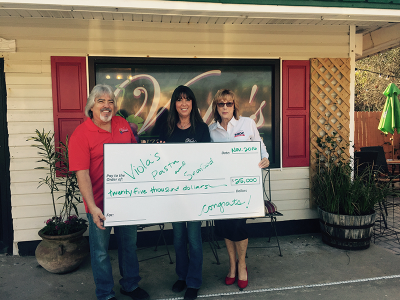 Marge Cirillo congratulates the Viola's on securing Florida Small Business Emergency Bridge Loan