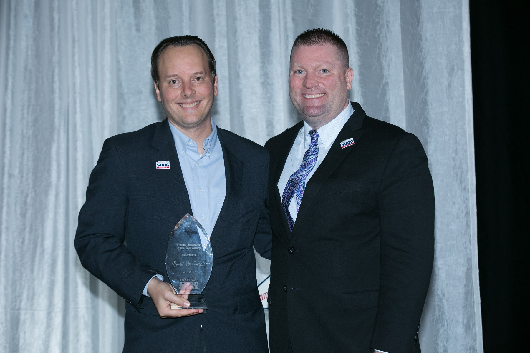 L-R: Brian Van Hook, the Florida SBDC's 2017 Employee of the Year, and Michael Myhre