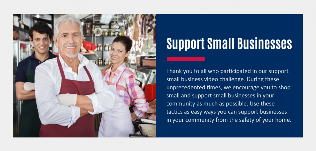 Thank you to all who participated in our support small business video challenge.