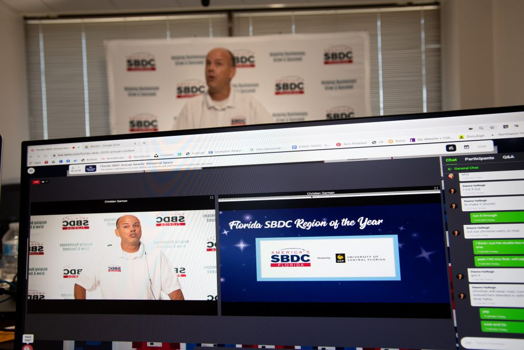 Christian Garman, executive director for the Florida SBDC Network's CARES Act initiatives, emcees the Florida SBDC Network's 2020 virtual awards celebration
